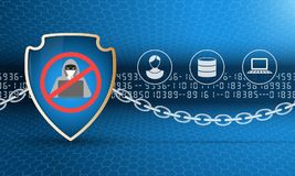 Data protection shield with chain. Security shield with stop hacker symbol and chain. Protection of computer and personal data. The picture includes numbers Stock Photo