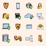 Data protection sketch icons colored. Computer data protection and secure information exchange sketch icons colored set isolated vector illustration Royalty Free Stock Image