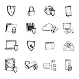 Data protection sketch icons. Computer data protection and secure internet information sketch icons set isolated vector illustration Royalty Free Stock Photos