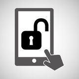 Data protection smartphone padlock open icon Stock Photo