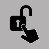 Data protection smartphone padlock open icon Royalty Free Stock Image