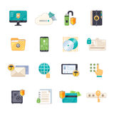 Data Protection Symbols Flat Icons Set Stock Image