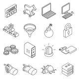 Data protection technology and web business. Security icons. Bug and cluster, filter trojan, login. Isometric 3d thin line style. Vector illustration Stock Images