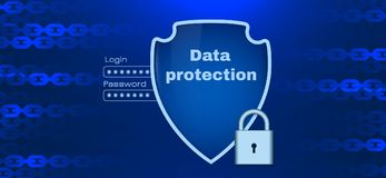 Data protection theme with chain elements stock illustration