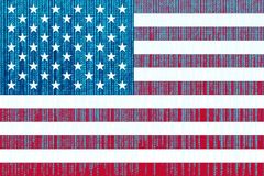 Data protection USA flag. American flag with binary code. Royalty Free Stock Photography