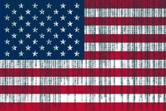 Data protection USA flag. American flag with binary code. Stock Photos