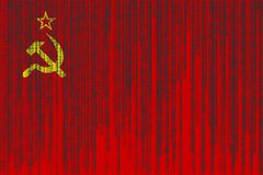 Data protection USSR flag. Soviet Union flag with binary code. Stock Images