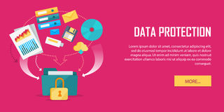 Data Protection Video Web Banner in Flat Style Royalty Free Stock Image