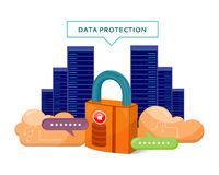 Data Protection Video Web Banner in Flat Style. Data protection web banner in flat style. Internet security. Servers, cloud services, media and social networks Stock Photos