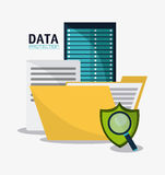 Data protection and yber security system design. Document file lupe shield and padlock icon. Data protection cyber security system and media theme. Colorful Royalty Free Stock Photography