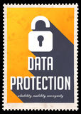 Data Protection on Yellow in Flat Design. Royalty Free Stock Image