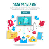 Data Provision Banner. Networking communication and data icons around laptop on white background. Data protection, global storage service and online cloud Stock Photo