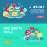 Data Provision, Cloud Computing Services Banners Royalty Free Stock Images