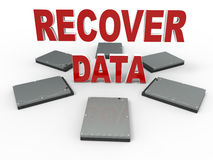 Data recover concept. 3D rendered illustration for the data recover concept. The composition makes use of multiple hard disks and the words recover data extruded Royalty Free Stock Image