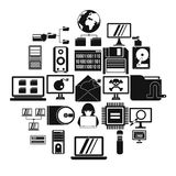 Data recovery icons set, simple style. Data recovery icons set. Simple set of 25 data recovery vector icons for web isolated on white background Stock Photography