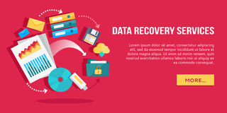 Data Recovery Services. Set of Concept Flat Icons Stock Photos