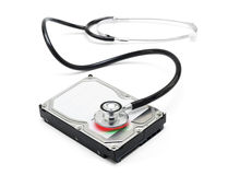 Data recovery stethoscope and hard drive disc Royalty Free Stock Photography