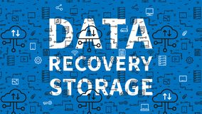 Data recovery storage vector illustration. With pattern background. Server cloud technology graphic design. Remote file recovery storage creative concept. Line Royalty Free Stock Photos