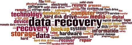 Data recovery word cloud vector illustration