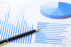 Data research and pen Royalty Free Stock Images