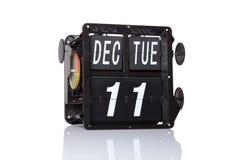 Data retro do calendário mecânico isolada Imagens de Stock Royalty Free