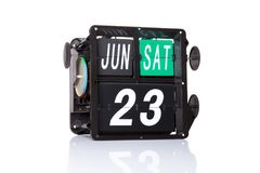 Data retro do calendário mecânico isolada Fotografia de Stock Royalty Free