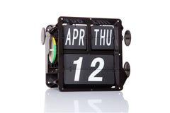 Data retro do calendário mecânico isolada Foto de Stock Royalty Free