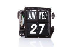 Data retro do calendário mecânico isolada Fotos de Stock Royalty Free