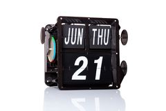 Data retro do calendário mecânico isolada Fotografia de Stock