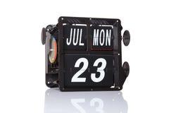 Data retro do calendário mecânico isolada Imagens de Stock