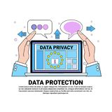 Data safety cloud shield laptop protects palms over synchronization General Data Protection Regulation GDPR server. Security guard on white background flat Royalty Free Stock Photography