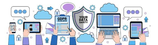 Data safety cloud shield tablet padlock over synchronization General Data Protection Regulation GDPR server security. Guard on white background banner flat royalty free illustration