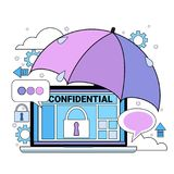 Data safety cloud shield tablet padlock umbrella over synchronization General Data Protection Regulation GDPR server. Security guard on white background flat royalty free illustration