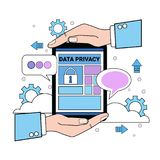 Data safety cloud shield tablet protects palms over synchronization General Data Protection Regulation GDPR server. Security guard on white background flat Royalty Free Stock Image