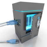 Data safety. 3D rendering of a usb cable connected to a strongbox containing electronic files Royalty Free Stock Photo