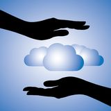 Data safety & protection(cloud computing) graphic. Concept illustration of protecting data(cloud computing). The graphic contains female hands silhouette Royalty Free Stock Images