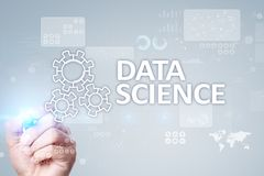 Data Science, analysis. Internet and technology concept concept, banner and infographic on virtual screen. Data Science, analysis. Internet and technology royalty free stock images