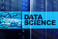 Data science, business, internet and technology concept on server room background.  stock photography
