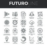 Data Science Futuro Line Icons Set. Modern thin line icons set of data science technology and machine learning process. Premium quality outline symbol collection vector illustration