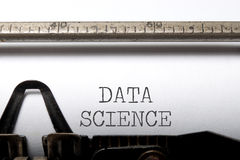 Data science. Printed on an old typewriter royalty free stock photo