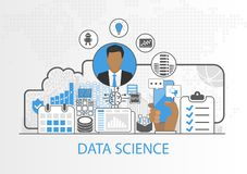 Data science vector illustration with business man and icons vector illustration
