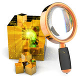 Data search (Hi-Res). Searching information. I have found it! Burning shiny sphere with sparks inside abstract golden data cube under orange magnifying glass Stock Image