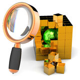 Data search. I have found it!. Green shiny sphere inside abstract golden data-cube under orange magnifying glass. Global search concept. 3D render (Hi-Res) Royalty Free Stock Photos