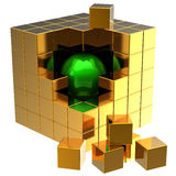 Data search. I have found it!. Data search. Green shiny sphere inside abstract golden data-cube assembling from blocks. Global searching concept. 3D render (Hi Royalty Free Stock Photos