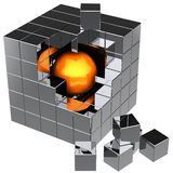 Data search. I have found it!. Shiny orange sphere inside abstract metallic data cube assembling from chrome blocks. Strong reflections. Global search concept Royalty Free Stock Photo
