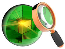Data search. I have found the necessary (Hi-res). Golden shiny cube with yellow flash inside abstract green data-sphere under orange magnifying glass. Internet Royalty Free Stock Photos