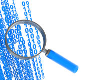 Data searching. 3d illustration of binary data flow and magnify glass, information find concept Royalty Free Stock Images