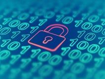 Data secure concept: padlock on binary code background. EPS 10 vector illustration. Data secure concept: red closed padlock on binary code background. Cyber royalty free illustration
