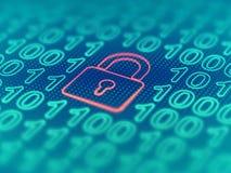 Data secure concept: padlock on binary code background. EPS 10 vector illustration. Data secure concept: red closed padlock on binary code background. Cyber stock illustration