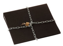 Data Security. A black ring binder with a chain and padlock around it Stock Image
